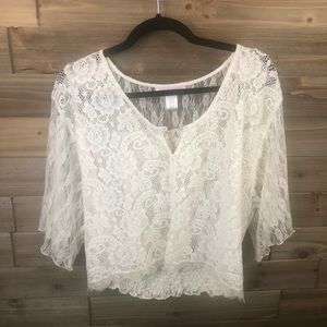 ⭐️ Band of Gypsies Off White Lace Blouse Size L ⭐️